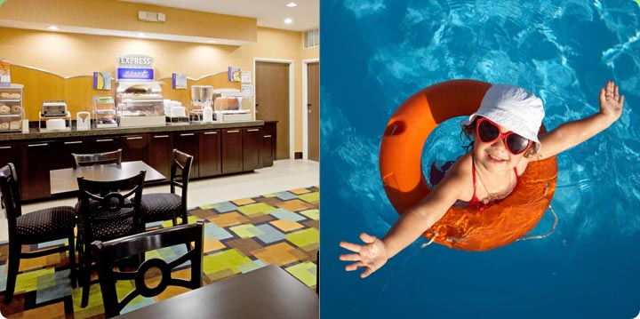 Arlington Texas Hotel BreakFast Room Little Girl in swimming Pool